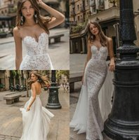 schiere spitze schatz brautkleid groihandel-2019 New Muse von Berta Mermaid Brautkleider Sheer Sweetheart Backless Lace Brautkleider Country Beach Wedding Dress Custom