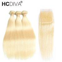 blonde erweiterungen preise großhandel-HCDIVA 613 Blonde Gerade Bundles Mit Verschluss Blonde Brasilianische Remy Menschenhaar Webart Haarverlängerungen Mit Verschluss 10-30 zoll Günstigen Preis