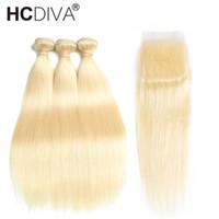 cabello virgen vip al por mayor-HCDIVA 613 Blonde Straight Bundles With Closure Blonde brasileño Remy Extensiones de cabello con armadura de cabello humano con cierre 10-30 pulgadas Precio barato