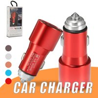 Wholesale iphone power bank adapter resale online - Fast Charging Car Charger Adapter W V A Metal Dual Ports USB Car Adapter for iPhone Android Universal Cellphones in Retail Box