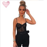 Wholesale garment bodysuits for sale - Group buy New Ladies Winter Bodysuits Playsuits Womens Shoulder Sexy Lace Strap Perspective Mesh Sexy Garment New Lace