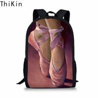 Wholesale zipper back shoes resale online - THIKIN Pink Ballet Shoes Ballet Dancer Painting School Bag for Girls Kids Backpack Toddler Girl Back Pack Bookbag Mochila