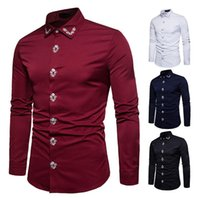 paçavra gömleği toptan satış-Yeni eğlence placket işlemeli mahkeme tarzı uzun kollu erkek gömleği toptan