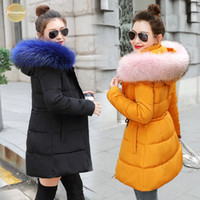 Wholesale red black long hair for sale - Group buy Winter Jacket Broadcloth Women New Coats Artificial Raccoon Hair Collar Female Parka Black Thick Cotton Padded Lining Ladies S Xxxl