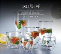 çift katmanlı cam kupa toptan satış-Isıya dayanıklı Çift Katmanlı Cam Kupa Bira Kahve Kupası El yapımı Nefis Cam Materal Mug Drinkware Çoklu Boyut