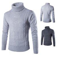 farbe jacquard-pullover großhandel-Pullover neue wintermode mode jacquard pullover einfarbig england freizeit hedging hohe kragen langarm