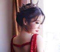 coroas redondas para noivas venda por atacado-Cristal Do Vintage Cheio Rodada Barroco Noiva Tiara Acessórios Do Cabelo Da Coroa Do Casamento para As Mulheres Rei Headpiece
