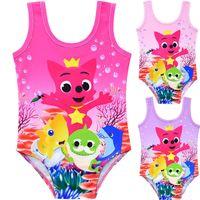 overall badeanzüge großhandel-INS Kinder Baby Shark Badeanzug Cartoon Badebekleidung Tank Overall Weste Strampler Sommer Schwimmen Strand Bade Kleidung anzüge Schwimmen A52405