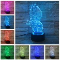 led hayranları toptan satış-Dragon Ball Z Vegeta Süper Saiyan Led RGB 7 Renk Değişimi aydınlatma Ampul Lamba Dragon Ball Süper Goku Vegeta Gece Işıkları Erkek Arkadaş Hayranları Hediye
