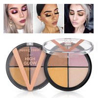 Wholesale block defect for sale - Group buy Four color highlights grooming cream brighten powdery cake of pink eye shadow carry bright color of skin shadow block defect