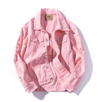 pembe kore ceket toptan satış-Bahar Yeni Vintage Denim Ceket Erkekler Öğrenci Gevşek Moda Kore Tarzı Standı Yaka Ceket Yıpranmış Delik Pembe Denim Ceketler Mont