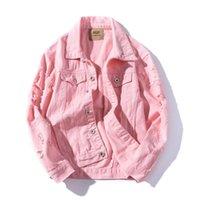 rosa koreanische jacke großhandel-Frühjahr neue Vintage Jeansjacke Männer Student lose Mode koreanischen Stil Stehkragen Jacke ausgefranst Loch rosa Jeansjacken Mäntel