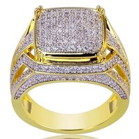 ingrosso anello in oro giallo 18k zaffiro-Luxury Plated 18k Yellow Gold Anello quadrato riempito naturale pietra preziosa White Sapphire Diamond Ring Wedding proposta sposa Men Ring