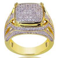 18k gelbgold saphir ring großhandel-Luxus vergoldet 18k Gelbgold Square Ring gefüllt natürlichen Edelstein White Sapphire Diamond Ring Hochzeit Vorschlag Braut Männer Ring
