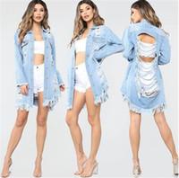jeans effiloché pour les femmes achat en gros de-Femmes déchiré Jeans Veste À Manches Longues Col Revers Lavé Frotté Manteaux Mode Casual Printemps Femmes Outwear