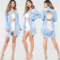 ingrosso jeans sfilacciati per le donne-Giacca da donna strappata con jeans a manica lunga con collo sciallato lavato sfilacciato cappotti moda casual primavera outwear donna