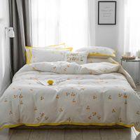 gelbe königin bettwäsche gesetzt großhandel-2019 INS Little Yellow Fruits Bettbezug Bettbezug-Set Bettwäsche aus Baumwolle Twin Queen King Spannbetttuch