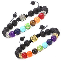 Wholesale women wrist charms for sale - Group buy Men Women Wrist Strap Chakra Braided Rope Yoga Beads Charms Bracelets Natural Lava Stone Tree Of Life Diffuser Bracelet zx BB
