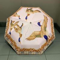 guarda-chuva para impressão venda por atacado-Concise Estilo Clássico Guarda-chuvas Teals Impresso Guarda-chuva Tecido Fimbria para o Presente Dia Ensolarado Ao Ar Livre Indispensável Sunshade
