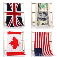 Wholesale 4 color CM USA UK flag EUROS Unisex cotton stripe printed beah towels bathing towel Shower Gym Fitness Camping Towel