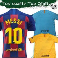 uniformes de fútbol de ventas al por mayor-Camiseta de fútbol Messi Home de 2020 # 10 19 20 Camiseta de fútbol de visitante # 3 PIQUE # 4 I.RAKITIC # 7 COUTINHO 2019 Tercera venta de uniformes de fútbol