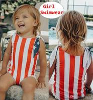 mädchen größe kinder kleidung groihandel-Baby-Sommer-Badebekleidung scherzt US-Flaggenentwurf einteiliges Badeanzug-Mädchenkleidung Größe 80-120 für 0-5T