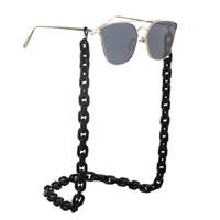 ingrosso occhiali antiscivolo-Catena di occhiali in plastica nera in resina acrilica catena di occhiali da vista di protezione dell'ambiente retro moda semplice antiscivolo e anti-perdita