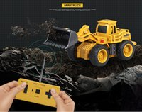 kamyonlar ekskavatör için oyuncaklar toptan satış-Rc kamyonlar mini uzaktan kumanda buldozer 1: 64 alaşım mühendislik araba damperli kamyon vinç kamyon ekskavatör elektrikli araç toys