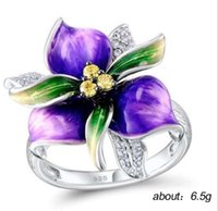 Wholesale purple stainless steel ring band for sale - Group buy Exquisite purple flower ring copper zircon ring