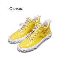 zapatos de charol hip hop al por mayor-OVXUAN Brillante de Patentes de Cuero Patchwork Entrenadores Masculinos Zapatos Superiores Hip Hop Hombres Zapatillas de deporte Vestido de Fiesta Mocasines Zapatos Planos