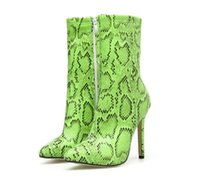 Wholesale green stiletto boots for sale - Group buy Hot Sale to Green Animal Printed Ankle Boots Pointed Toe Stiletto Heels Come With Box