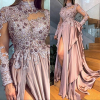Wholesale customized high neck evening dresses for sale - Group buy Beaded Appliques Long Sleeves Prom Dresses Sexy High Neck Dusty Pink Split Formal Evening Gowns Party Dress Customize Size