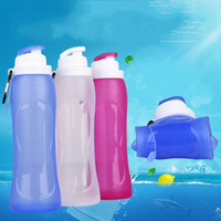 Wholesale mountain water bottle for sale - 500 Ml Folding Cup Silicone Practical Camping Mountain Climbing Bottle Portable Purple Pink White Durable Water Bag xsD1
