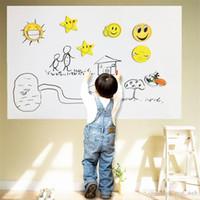 pvc pen großhandel-45x200 CM PVC Whiteboard Wandaufkleber Abziehbilder Vinyl Abnehmbare DIY Whiteboard Aufkleber für Kinder Mit Filzstift Mit Kleinverpackung