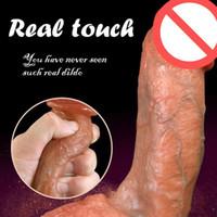 pênis artificial para masturbação venda por atacado-Macio Real Pele Silicone Vibrador Enorme Ventosa Realista Dildo Masculino Pênis De Borracha Artificial Feminino Masturbação Brinquedos Sexuais Para As Mulheres Sex Shop