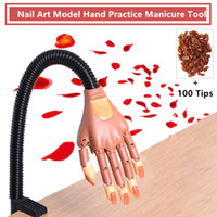 modelos de mão venda por atacado-New Style Nail Art Prática Mãos Macio Prego Modelo de Suporte Da Mão de Treinamento para com 100 pcs Dicas Prego Ajustável Manicure Ferramenta