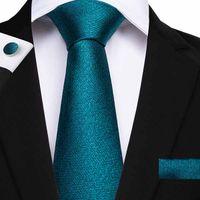 Wholesale necktie hanky cufflinks handmade for sale - Group buy Hot Sale Necktie peacock green Ties Jacquard Woven Silk Handmade Tie Pocket Square Cufflinks Business Weeding Ties SN