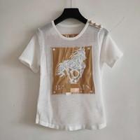 camiseta blanca con botones al por mayor-Envío gratis 2019 Summer White / Black Horse Print Hollow Out Button Summer Camiseta para mujer Marca del mismo estilo T-Shirt para mujer 071708