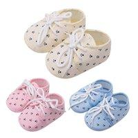 ingrosso arco in tessuto floreale-Newborn ragazzi delle neonate primi camminatori scarpe morbide scarpe della greppia floreale del nodo dell'arco del tessuto di cotone di alta qualità