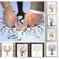 parmak izi ağacı konuk defteri toptan satış-Kişiselleştirilmiş Tuval Parmak Izi Boyama Düğün Ağacı Ziyaretçi Defteri Düğün Hediyeleri DIY Communion Doğum Günü Partisi Süslemeleri 15 stilleri