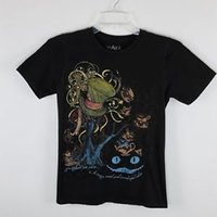 chemises chat brun achat en gros de-Rock ALICE Graphic Tee shirt Brown Chapelier Fou Cheshire Cat Petit