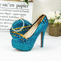 Wholesale party shoes bags for sale - Group buy Blue crystal wedding shoes with bag Sets Fashion women s Round Pumps High Heel Pumps party Dress shoes with matching bags
