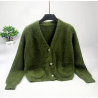 camisola verde solta venda por atacado-Moda Mulher De Malha De Inverno Solto Grosso Cardigan Curto Mulheres Camisola Casaco Coreano Senhoras Curto Cardigan Verde Mulheres Suéteres