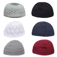 topi caps großhandel-Schädelkappe Hochwertige Knitting Islamic Kufi Topi Muslim Gebetsmütze Türkisch Made Namaz Egyptian Mens Head Wear