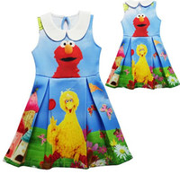 elmo kleider großhandel-Sommer Kinderkleidung Mädchen Party Kleid Baby Mädchen Kleid Sesamstraße Elmo Cartoon Kleid