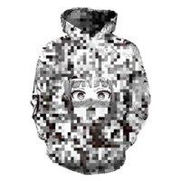 sudadera con capucha de las mujeres con cremallera al por mayor-3D Hoodies de las mujeres con capucha hombres tímidos chica con capucha de la cara del anime de Calle Harajuku de gran tamaño Zip Up chaquetas Tops