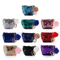 Wholesale coin purse online - Mermaid Sequin Coin Purses Sequin Keychain With Cute Plush Ball Glitter Mini Zipper Pouch Earphone Coin Wallet Bags GGA1483