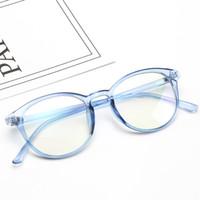 lentes de gelatina venda por atacado-Quadro de óculos de armação redonda restaurar antigos modos lisos lente transparente geléia óculos escuros é usado