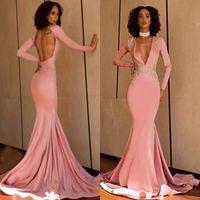 ingrosso abiti da sera rosa oro-2019 Beautiful Pink Mermaid Prom Dresses Sexy Keyhole maniche lunghe backless con applicazioni in oro Sweep Train Black Girls Evening Gowns.