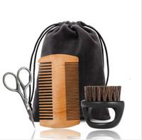 cepillo de limpieza al por mayor-Juego de cepillos para barba Estilismo de doble cara Reparación de tijeras Modelado Kits de cuidado de limpieza Herramienta de cuidado de afeitado facial masculino LJJK1609